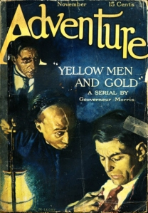 The first cover of the old pulp fiction magazine Adventure.