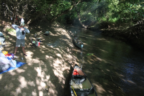 Our boats on Rose Creek just before we broke camp to make the Jackson Speed Run down the Oconee.