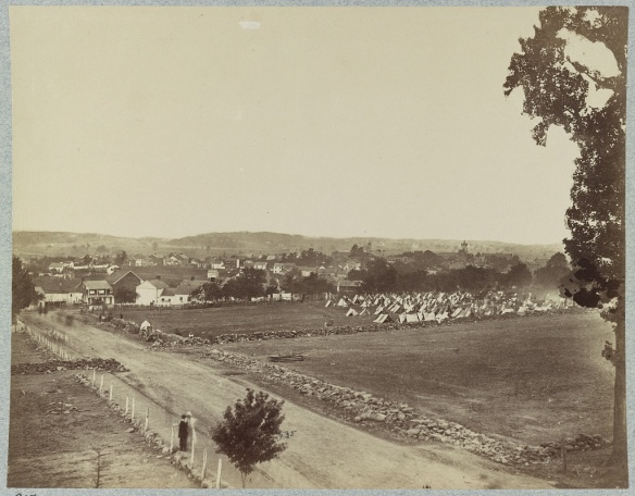 A view of the town of Gettysburg from Cemetery Hill.
