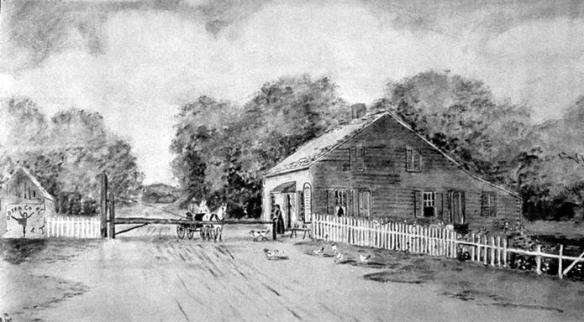Toll house and toll road from the 1800s.